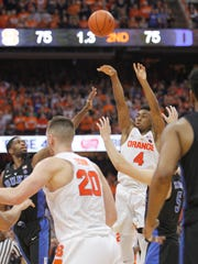Syracuse's John Gillon shoots the game winning shot in the final seconds of an NCAA college basketball game against Duke on Feb. 22. It was the highlight of Syracuse's season.