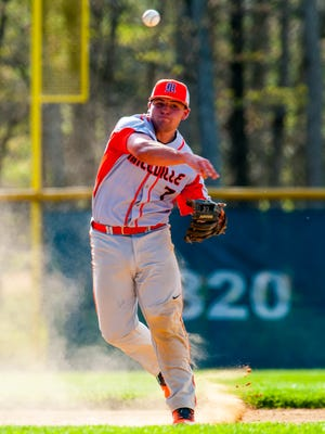 Millville third baseman Buddy Kennedy (7) throws to first after fielding a St. Augustine Prep hit at Chadd Thomas Levari Memorial Field in Richland on Monday, May 1.