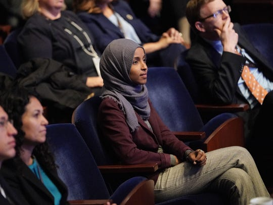 "Omar, shown here, and Rashida Tlaib, D-Detroit, both Muslims, were elected to the U.S. House last fall. The FBI said in a criminal complaint Carlineo called Omar a ""terrorist"" and threatened to shoot her."