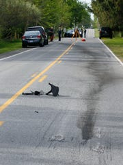 Tire and oil marks can be seen at the scene were two