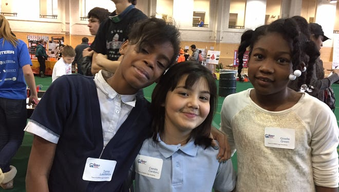 School 9 team, left to right, Tania Mitchell-Lawrence, Camila Cardona, and Giselle Green