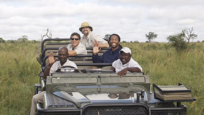 Larry Fitzgerald (second from right) and his group during a safari in South Africa in 2009.