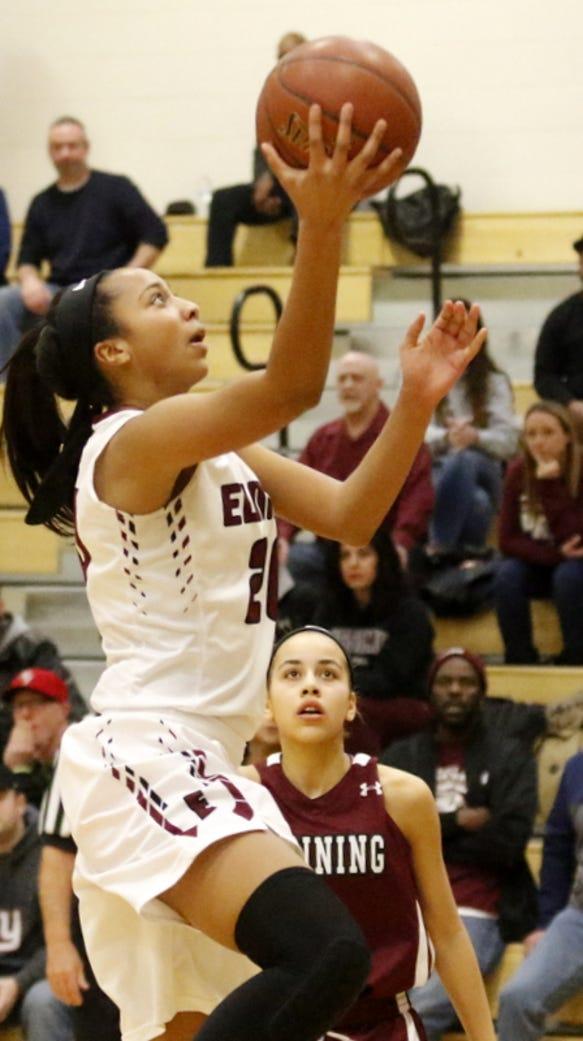 Zaria DeMember-Shazer puts up a shot for Elmira against