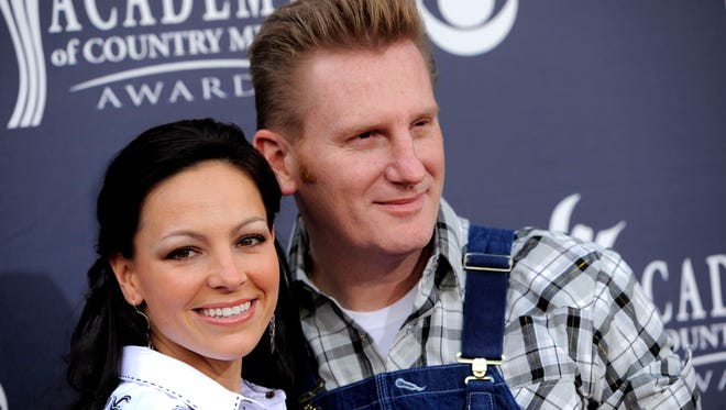 """In this April 3, 2011 file photo, Joey Martin Feek, left, and Rory Lee Feek of """"Joey + Rory"""" arrive at the 46th Annual Academy of Country Music Awards in Las Vegas, Nev."""
