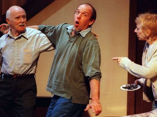 "A scene from the comedy ""Noises Off,"" Florida Rep's very first production in November 1998. Pictured, from left are actors Niels Miller, Gordon McConnell and Mimi Bensinger."