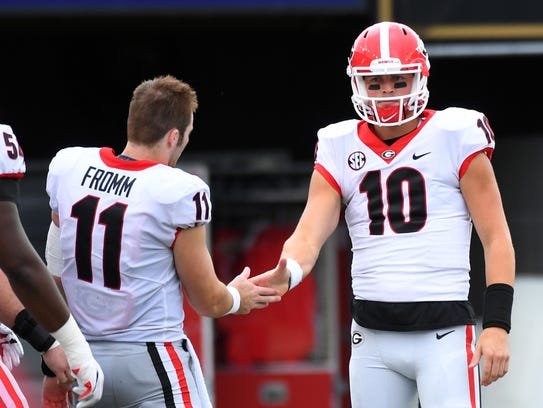 Georgia Bulldogs quarterbacks Jake Fromm (11) and Jacob