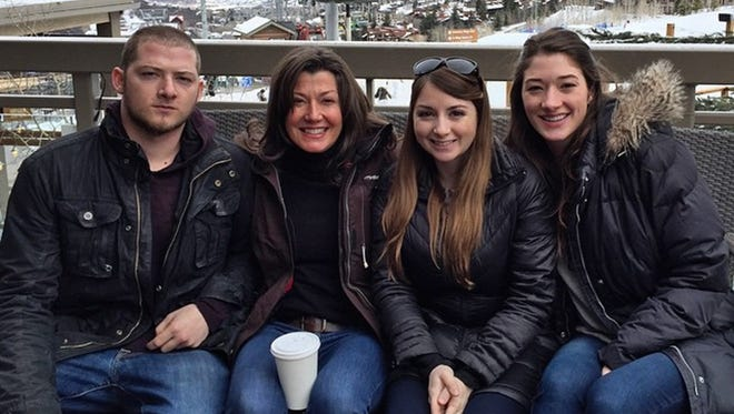 Singer Amy Grant, second from left, on a ski trip with her adult children by her ex-husband, Gary Chapman: Matt, Millie and Sarah Chapman