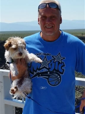 This June 2015 photo provided by Linda Bilyeu shows her ex-husband Randy Bilyeu during a visit to northern New Mexico. Authorities confirmed Wednesday, April 27, 2016, that they have resumed the search for Bilyeu, a 54-year-old father and grandfather, who went missing in January while hunting for a $2 million cache of jewels, gold and artifacts in a rugged area along the Rio Grande, northwest of Santa Fe, N.M. (Courtesy of Linda Bilyeu via AP) MANDATORY CREDIT