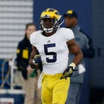 Michigan defensive back Jabrill Peppers going through a back peddling drill during football practice on Thursday, March 19, 2015 in Ann Arbor.