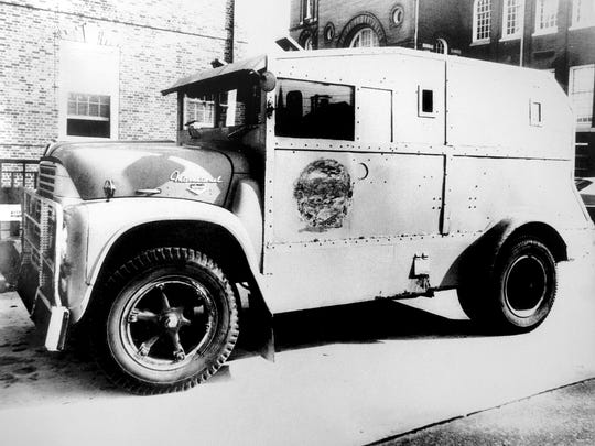 York Police Officer Henry Schaad was mortally injured when a bullet pierced this armored vehicle known as Big Al.