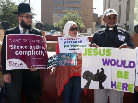 Members of a various faiths gathered with the American Federation of Teachers, Voto Latino, Move On and other groups during a protest rally in front of the El Paso County Courthouse before going to the Marcelino Port of Entry in Tornillo on Tuesday.