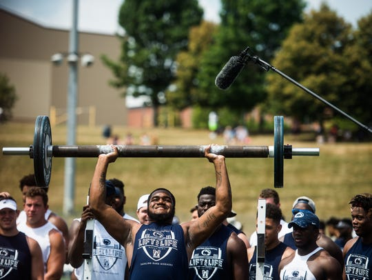 Penn State's Shareef Miller competes in the deadlift