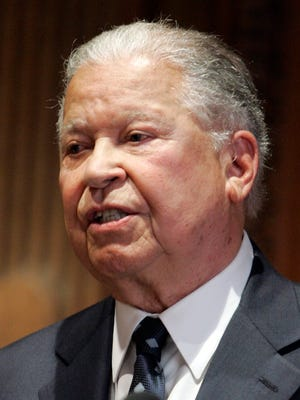 Former Sen. Edward W. Brooke, R.-Mass, gives a talk at the Massachusetts Historical Society in Boston April 24, 1997.