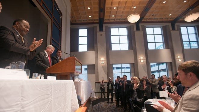 Mayor Todd Strange receives a standing ovation announced that he would be running for re-election during the State of the City County breakfast at the RSA Tower Activity Center in Montgomery, Ala., on Thursday, Jan. 22, 2015.