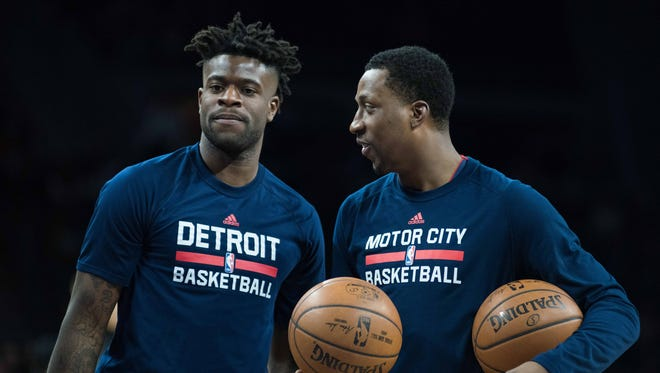 Mar 19, 2017; Auburn Hills, MI, USA; Pistons guards Reggie Bullock, left, and Kentavious Caldwell-Pope prior to their game against the Phoenix Suns at the Palace.