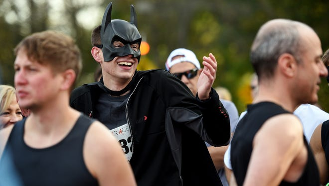 "Gregory ""Batman"" Fylstra of Allendale gathers at the starting line for the second annual ""Hero 5k Run/Walk,"" at Bergen Community College. The Wellness and Science Department and The Veterans Club of BCC held the event on Sunday, October 22, 2017."