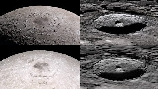 Comparisons of certain frames from the original 2011 tour (bottom) and the 2018 version (top). The data gathered by LRO in the intervening years is reflected in the improved quality of the newer images.