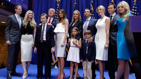 Donald Trump poses with his family after his announcement