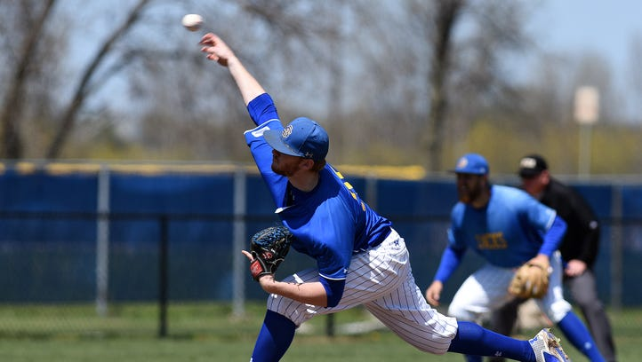 SDSU's #35 Ryan Froom pitches against Western Illinois during baseball action at the Erv Huether Field in Brookings, S.D., Sunday, May 1, 2016.