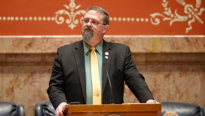 State Senate President Kevin Grantham, R-Canon City, calls the Senate to order as lawmakers work on the final day of the legislative session Wednesday, May 9, 2018, in Denver. (AP Photo/David Zalubowski)