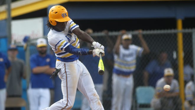 Rickards' Ferante Cowart records the Raiders' only hit during a Region 1-5A final against Bolles.
