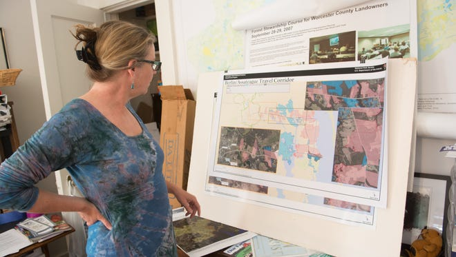 Kate Patton of the Lower Shore Land Trust looks over a map of a potential trail connecting Assateague Island with Berlin.
