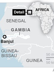 Map locates the country of Gambia and its captial.