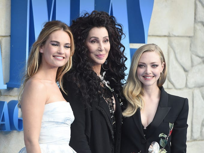 """Lily James, Cher and Amanda Seyfried attend the """"Mamma"""