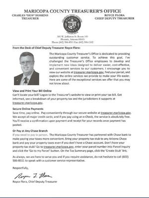 Flier for candidate Royce Flora, included in Maricopa County property tax bills.
