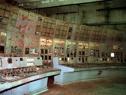 The shattered remains of the control room for Reactor No. 4 at the Chernobyl nuclear power plant are shown in a photo from Nov. 10, 2000.