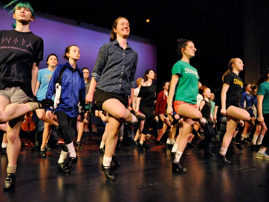 Irish dancer Mairead Howley, second from left, rehearses