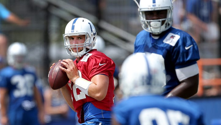 Indianapolis Colts quarterback Andrew Luck (12) looks for wide receiver Ryan Lankford (85) at the Colts training camp Friday, August 14, 2015, afternoon at Anderson University in Anderson IN.