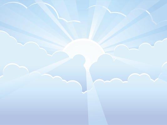 Blue sky with sunrays vector