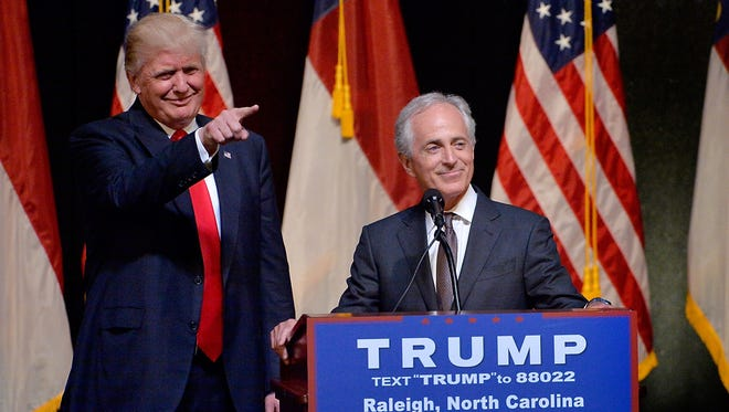 Donald Trump stands next to Sen. Bob Corker, R-Tenn., during a campaign event at the Duke Energy Center for the Performing Arts on July 5, 2016, in Raleigh, N.C.