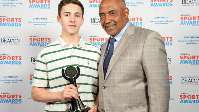 Andy Campbell of Highlands High School and 2016-2017 Boys Bowler of the Year, joins Bengals head coach Marvin Lewis during the 2017 Cincinnati.com Sports Awards at the Aronoff Center May 22, 2017.