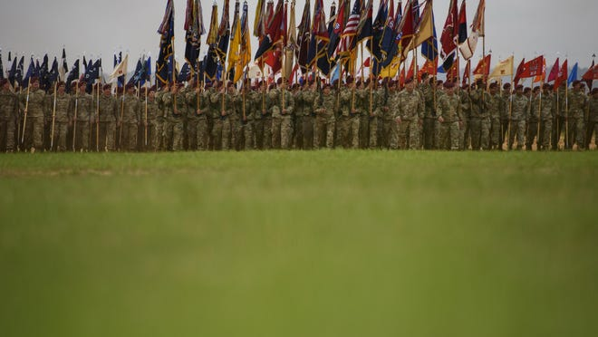 Thousands of people attend the 82nd Airborne Division's All American Airborne Review on May 23, 2019, at Sicily Drop Zone. All American Week is canceled last year because of the coronavirus and is pushed back to late August and early September this year.