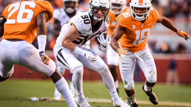 Missouri wide receiver Barrett Banister (30) runs following a catch during a game against Tennessee on Nov. 17, 2018, at Neyland Stadium in Knoxville, Tenn.
