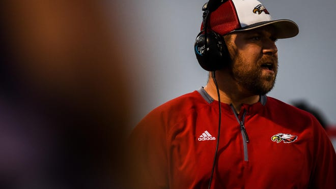 Southern Boone head football coach Trent Tracy won the 50th game of his tenure leading the Eagles on Friday night.