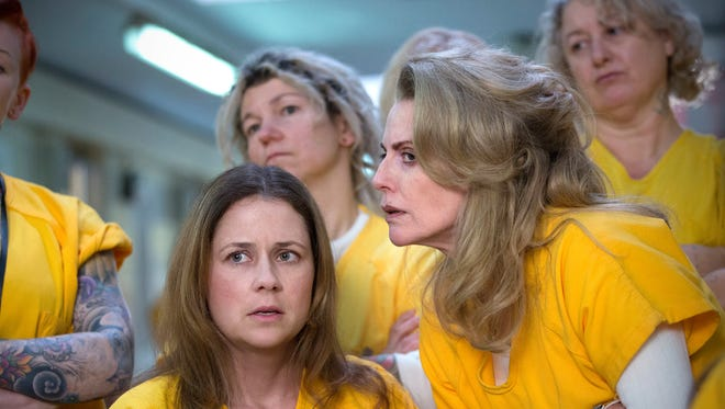 "From left, Jenna Fischer as Rhonda and Megan Mullally as Leanne in ""Apocalypse."""