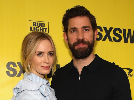 """""""I think John and I work very similarly,"""" Emily Blunt says of spouse John Krasinski. The two attend the premiere of """"A Quiet Place"""" on March 9, 2018, in Austin, Texas."""