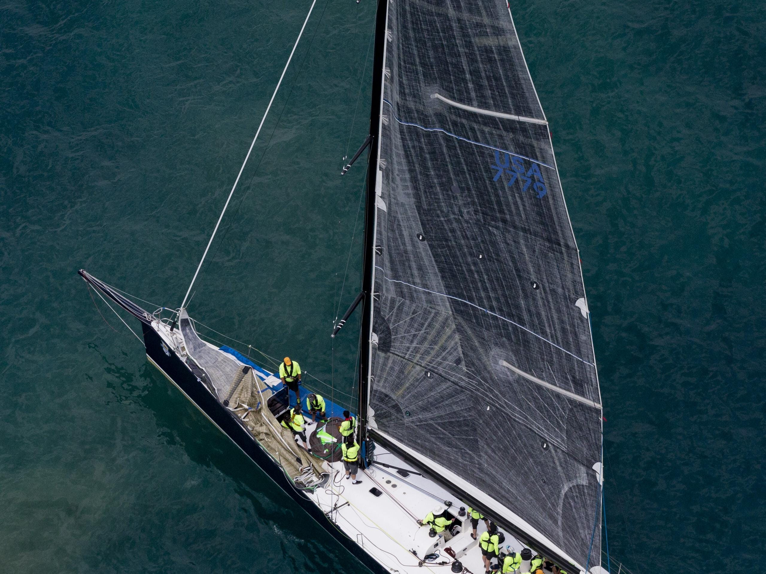 Ocean, of Chicago Yacht Club, competes in Class A during the start of the Port Huron-to-Mackinac Island sailboat race Saturday on Lake Huron.