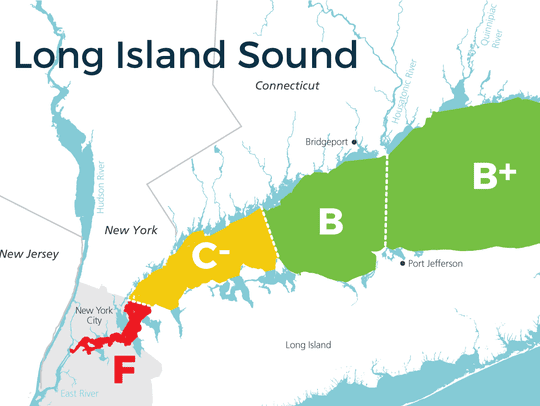 A map shows Westchester's Long Island Sound waters