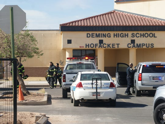 Deming police and fire departments responded to a fire alarm at the high school on Monday morning, but detected no fire.