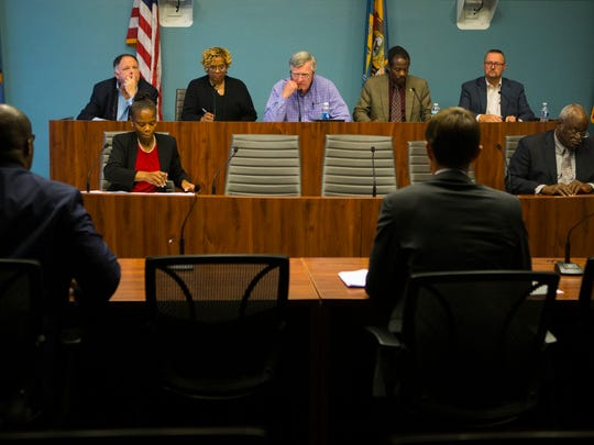 The Wilmington City Council Finance & Economic Development Committee discuss changes to the discretionary funds process Monday night in the city council committee room.
