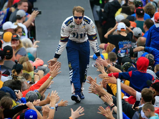 Brad Keselowski is introduced prior to the Monster