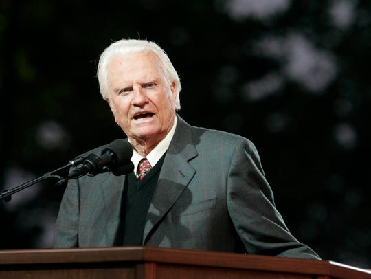 The Rev. Billy Graham preaches on the first night of