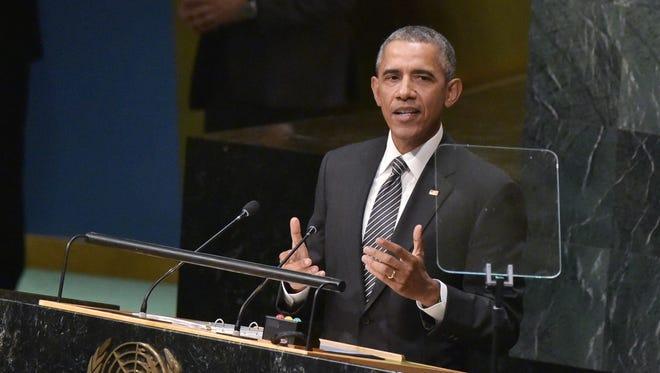 President Obama speaks  at the United Nations in New York on Sept. 27, 2015.