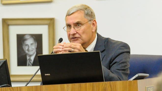Lafayette Parish Superintendent Donald Aguillard speaks at a May 2016 school board meeting.