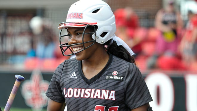 UL shortstop DJ Sanders could have different teammates hitting in front and behind her this weekend.