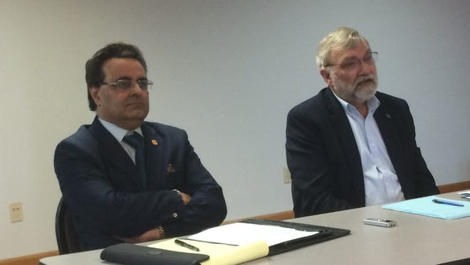 Sheboygan County Board hopefuls Arush Chahal, left, and incumbent member Bill Goehring addressed questions Saturday, March 24, 2018, at a debate in Random Lake.